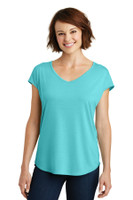 District Made Ladies Drapey Cross-Back Tee. DM416