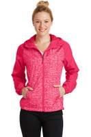 Sport-Tek Ladies Heather Colorblock Raglan Hooded Wind Jacket. LST40