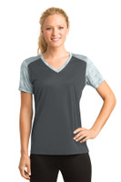 Sport-Tek Ladies CamoHex Colorblock V-Neck Tee. LST371