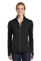 Sport-Tek Ladies Sport-Wick Stretch Contrast Full-Zip Jacket.  LST853