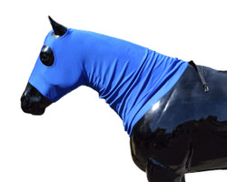 """Need a less expensive way to train your horse's mane? Try the """"Original""""  patented Sleazy Sleeper. It is made from stretch knit polyester, that is very resistant to abrasion. The Sleazy Sleeper trains the mane and helps keep it clean. It covers the head and neck and ends at the top of the shoulders. This hood does requires a sheet or blanket for attachment at the withers. Also available with a zipper in the """"Cape"""" style. Comes in 7 sizes and 4 solid colors."""