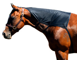 Sleazy Sleepwear for Horses™ offers a simple and easy product to train your horse's mane. The Sleazy Mesh Mane Tamer is made from a breathable mesh. It comes completely lined and has 3 soft elastic straps with hook & loop closures. It attaches to a halter between the horse's ears. Available in Black only.  Size Small fits 500-800 lbs