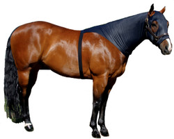 """If you are looking for a great product to train the mane without using a halter or sheet and you do not want to cover your horse's shoulders, try the Sleazy Brief.  It allows the mane to be trained and stays on the horse without the use of a halter to secure it.  The Brief also comes with the """"Seamless Face"""" design.  The Brief is available in 6 sizes and comes standard with a full separating zipper. It is made of nylon spandex and is available in Black only."""
