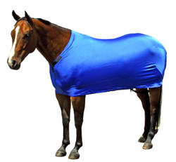 """Sleazy Sleepwear Stretch Sheets can be used alone to smooth body hair, keep your horse clean and help protect from blanket rub.  You can also combined the sheet with a Sleazy Sleepwear hood for the """"all over shine.""""  Sleazy Sheets are made of nylon or polyester spandex.  All Sheets are reinforced along the back to prevent over-stretching and include a fleece lined adjustable neck. Sleazy Stretch Sheets have adjustable rear leg straps with snap hook closures.   Sheets are available in 6 sizes. They come in a ll the solid colors offered by Sleazy Sleepwear for Horses™.  Sizing is calculated the same way as traditional blankets."""
