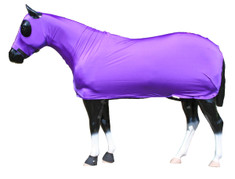 "Looking for that ""all over"" shine?  The Sleazy Full Body provides your horse head to tail coverage.  A full separating zipper, from chin to chest, allows easy dressing. Sleazy Full Bodies have adjustable rear leg straps with snap hook closures. Sleazy Stretch Full Bodies come in 6 sizes and are made of either nylon or polyester spandex.  The body portion is reinforced along the back to prevent over-stretching.  Sizing is calculated the same way as a traditional blanket.  Available in all of the current colors offered by Sleazy Sleepwear for Horses™."