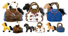 "This cute little plush horse comes with it's own carrying bag. Soft plush purse with Velcro closure doubles as a purse or the perfect way to carry your little horse in style. 3 color combinations to choose from. Approx. 8"" x 8"""