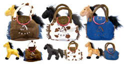 """This cute little plush horse comes with it's own carrying bag. Soft plush purse with Velcro closure doubles as a purse or the perfect way to carry your little horse in style. 3 color combinations to choose from. Approx. 8"""" x 8"""""""