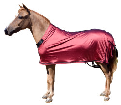 Miniature stretch sheets by Sleazy Sleepwear for Horses can be used alone or with a hood.  Sleazy Mini Sheets are made of nylon or polyester spandex.  All Sheets are reinforced along the back to prevent over-stretching and include a fleece lined adjustable neck. Sleazy Stretch Sheets have adjustable rear leg straps with snap hook closures.   They come in all of the solids offered by Sleazy Sleepwear for Horses.  Available in 5 sizes.  Size is determined by girth measurement in inches.     * NOTE: All Miniature Horse products made by Sleazy Sleepwear for Horses, are sewn with the seams on the outside of the garment to help keep a smooth coat.