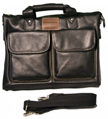 "Stylish and functional, this quality soft black leather briefcase is priced to sell!  Features: Soft black leather detailed with contrast chocolate stitching and chocolate leather ""Windhorse"" logo patch, adjustable soft cotton shoulder strap. Full-zip main compartment with inner zip pocket, padded laptop pocket, and organizer panel with PDA pouch, phone pocket, pen/pencil loops. Two magnetic-close front pockets and an additional zipper pocket on the back.  Padded-leather double handles with snap closure. Imported.  Overall Measurements: 14"" L x 5"" W x 11"" H"