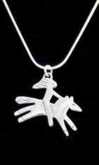 The Free Spirit shows in this sterling silver pendant of a Horse and Rider.  Comes with a 20 inch sterling silver snake chain.  Pendant is 1.25 inches long and 1.25 inches high.