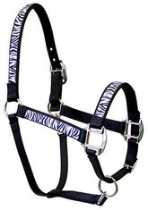 "Design and function best describe our ""Equine Elite"" line of halters! Made with a highly durable, vibrantly colorful printed design on a polyester braid, then sewn onto 2 and 3 layers of accenting nylon.  The Red Haute Horse Equine Elite product line is made in the U.S.A.  NOTE: All Equine Elite Halters use Nickel Plated hardware for durability in all weather conditions and uses     Sizing                           CROWN   CHEEK   NOSE   CHIN STRAP     JAW STRAP MINI/FOAL     11-14""        4""         6.5""        4.5-7.5""          10.5"" w/snap   PONY             14-17""       4.5""        8""            6-9""              13"" w/snap   COB/SMALL    18-21""        7""         9.5""         8-11""             17"" w/snap   AVERAGE       21-24""       7.5""        10""          9-12""             19"" w/snap   LARGE           23-26""        8""          11""      9.75-12.75""        20"" w/snap   DRAFT           25-28""       9.5""        14""         11-14""            21"" w/snap"