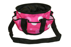 """PINK, PINK, PINK Polka Dots make this all pupose barn or grooming tote fun.  Handy caddy has many uses, sewing, crafts, scrapbooking, as well as barn uses.  Features include;      1200 denier tough outer shell.     Fully lined on the inside with smooth nylon lining     6 exterior pockets     Black webbing handles and trim     Remove able, adjustable, black webbing shoulder strap     4 plastic 1/4"""" """"feet"""" on bottom of tote     12"""" long, 7 1/4"""" tall"""