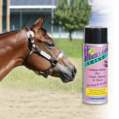 Silverado Shine™. Instant Shine Highlighter For Coats, Manes & Tails without the grease.  Silverado Shine™ - with Sun Screen. The first one it's kind on the market to offer Sun Blockers for both UV-A & UV-B. Protection that helps prevent bleaching & breaking from the damaging Ultra-violet A & B Sun Rays.  Silverado Shine™, an environmentally safe CFC-Free aerosol, offers a safe gentle and improved smoother spray that covers evenly. Special cosmetic additives eliminate greasiness for an added bonus.  At shows or at home, Silverado Shine™ can be used daily for gorgeous coats, manes & tails.  Available in 11.6 oz. CFC Free Aerosol