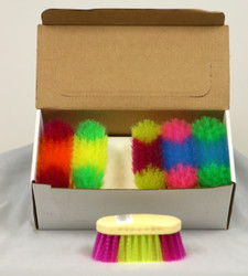 "Assorted Rainbow Colored Dandy Brushes.  Each brush measures 6"".  Brush colors will vary."