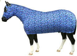 "Bubbles Print Looking for that ""all over"" shine?  The Sleazy Full Body provides your horse head to tail coverage.  A full separating zipper, from chin to chest, allows easy dressing. Sleazy Full Bodies have adjustable rear leg straps with snap hook closures. Sleazy Stretch Full Bodies come in 6 sizes and are made of either nylon or polyester spandex.  The body portion is reinforced along the back to prevent over-stretching.  Sizing is calculated the same way as a traditional blanket.  Available in all of the current colors offered by Sleazy Sleepwear for Horses™."