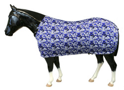 """Sleazy Sleepwear Stretch Sheets can be used alone to smooth body hair, keep your horse clean and help protect from blanket rub.  You can also combined the sheet with a Sleazy Sleepwear hood for the """"all over shine.""""  Sleazy Sheets are made of nylon or polyester spandex.  All Sheets are reinforced along the back to prevent over-stretching and include a fleece lined adjustable neck. Sleazy Stretch Sheets have adjustable rear leg straps with snap hook closures.   Sheets are available in 6 sizes. They come in a ll the Print colors offered by Sleazy Sleepwear for Horses™.  Sizing is calculated the same way as traditional blankets."""