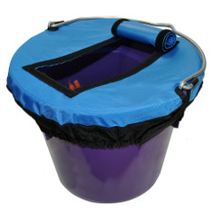 Blue E-Z Access Bucket Tops have a super duper handy Velcro lined flap that easily opens for quick or repetitive access to the contents.  An extra Velcro strip holds the flap open and out of your way.  Made with 840 denier waterproof nylon , they are durable and functional.  E-Z Access Bucket Tops comes in 2 sizes.  They fit any shape bucket within their respective sizes.  Available in either Black, Blue or Green.  Small (8 Quart)  or  Large (5 Gallon)