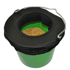 The Water-n-Hole Slosh-Proof Bucket Rim allows your horse to drink anytime they want, even while trailing down the road.  This slosh-proof bucket top has a soft, stretchy rim that allows room to drink down to the bottom of the bucket.  Soft sides cushion their face if the trailer moves while they are drinking.  The Water-n-Hole bucket top is nice for messy eaters too!  No more spilled feed on the ground!  Ideal for feeding or watering on the trail or at the show.   The Water-n-Hole Bucket Top comes in 2 sizes.  They fit any shape bucket within their respective sizes.  Available Sizes: Small (8 Quart)  or  Large (5 Gallon)  Available in Black only.