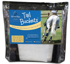 "Horse Spa Products is happy to introduce the Tail Bucket Tail Wash System.   ""Don't mess with the MESS""  The Tail Wash System is so easy to use anywhere!  Deep clean, condition or color enhance your horse's tail easily anywhere, anytime. Comes with a Neoprene Anchoring Band and a water tight clip.  Bags can be re-used several times.   Tail Bucket Starter Kits comes with Neoprene Anchoring Band, Water Tight Clip , 3 Straight Sized Bags and 3 Tapered Sized Bags.  Tail Bucket Refill Kits are also available;  Tail Bucket Refill Straight - Qty of 10 bags - (extra long/extra thick tails)  Tail Bucket Refill Tapered - Qty of 10 bags - (average to thick tails with a natural taper)"