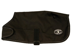 "Black Windhorse Dog Coats are the perfect way to keep your dog warm and dry. These coats are constructed with a premium quality medium denier waterproof, windproof, and breathable polyester canvas outer shell. The lining is made with a soft poly 70 denier lining. They feature a seamless back design and contoured fit.  Application is simple and secure using a wide velcro closure in front with generous adjustability, and an elastic belly strap with an adjustable slide  and velcro closure.  With 6 sizes to choose from, you will be sure to find the right one for your favorite Dog.  Sizes XXS - MED allows the use of a harness with a ""Button Hole"" design.  For added safety, these coats feature a reflective stitching sewn into the black binding.  An embroidered Windhorse logo patch is on the left hind leg panel."