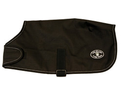 """Black Windhorse Dog Coats are the perfect way to keep your dog warm and dry. These coats are constructed with a premium quality medium denier waterproof, windproof, and breathable polyester canvas outer shell. The lining is made with a soft poly 70 denier lining. They feature a seamless back design and contoured fit.  Application is simple and secure using a wide velcro closure in front with generous adjustability, and an elastic belly strap with an adjustable slide  and velcro closure.  With 6 sizes to choose from, you will be sure to find the right one for your favorite Dog.  Sizes XXS - MED allows the use of a harness with a """"Button Hole"""" design.  For added safety, these coats feature a reflective stitching sewn into the black binding.  An embroidered Windhorse logo patch is on the left hind leg panel."""