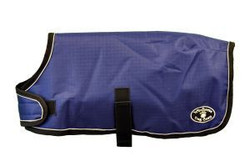 """Dark Purple Windhorse Dog Coats are the perfect way to keep your dog warm and dry. These coats are constructed with a premium quality medium denier waterproof, windproof, and breathable polyester canvas outer shell. The lining is made with a soft poly 70 denier lining. They feature a seamless back design and contoured fit.  Application is simple and secure using a wide velcro closure in front with generous adjustability, and an elastic belly strap with an adjustable slide  and velcro closure.  With 6 sizes to choose from, you will be sure to find the right one for your favorite Dog.  Sizes XXS - MED allows the use of a harness with a """"Button Hole"""" design.  For added safety, these coats feature a reflective stitching sewn into the black binding.  An embroidered Windhorse logo patch is on the left hind leg panel."""
