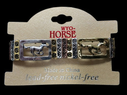 Running Horses race across this elastic stretch bracelet.  Designed with a three color combination of silver, gold, and copper that are made of alloy that will not tarnish.  Lead and Nickel Free