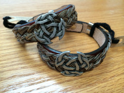 """Cowboy Collectible products are still handmade in Montana.   For a different twist, try our double braid bracelets. Featuring a stainless steel magnetic clasp for easy attachment, these bracelets are made of two braids of twisted horse hair.   Gift boxed.  Available in Medium - 8""""  or Large - 9"""""""