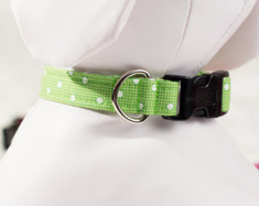 "Green Polka Dot Chasin' Tail Collar  Chasin' Tail Doggie Designs are special handmade creations.  Each piece is made by hand, with care, in Boring Oregon.   Chasin' Tail collars are adjustable and available in 5 sizes.  Collars are made from a washable fabric.  Gently wash and hang to dry.  Chasin' Tail dog collars can be ironed with a cool iron to remove wrinkles if they should appear.  Chasin' Tail collars come in the following ""Neck Size Range""  XS fits a 7"" - 11"" neck  SM fits a 10"" - 15"" neck  Med fits a 12"" - 19"" neck  LG fits a 15"" - 24"" neck  XL fits a 17"" - 29"" neck     Chasin' Tail also offers matching handmade leashes and cute collar accessories like Bow Ties and Flowers.  Look for them to order and complete your pet's special look."