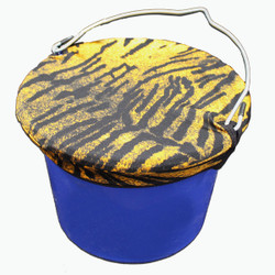 Tiger Pattern Lycra Bucket Top Keep buckets covered and contents protected Made from Lycra for strength and durability. Fits Any 8 Quart bucket shape, flat back, round, oval or square. Made in the USA Great for monogramming or embroidery.