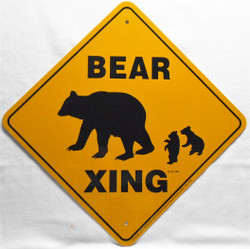 "Black Bear Xing / 12""x12"" / Yellow & Black"