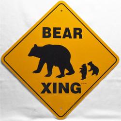 """Black Bear Xing / 12""""x12"""" / Yellow & Black"""