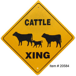 "Cattle Xing / 12""x12"" Yellow & Blk"