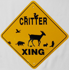 "Critter Woodland/Wildlife Xing / 12""x12"" / Yellow & Black"