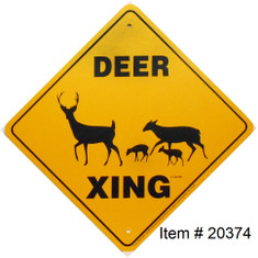 "Deer Xing Sign / Size 12""x12"" / Image #703 / Yellow & Black"