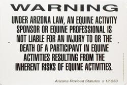 "Warning Sign Equine Liability Arizona / 12""x18"" / Wht & Blk"