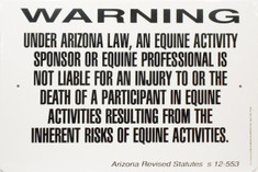 "Warning Sign Equine Liability Arizona / 12""x18"" / Wht & Blk"