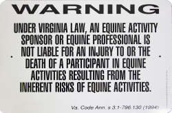 """Warning Sign Liability Virginia / Wht & Blk / 12""""H x18""""W"""