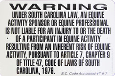 "Warning Sign Liability South Carolina / 12""x18"" / Wht & Blk"