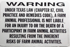 "Warning Sign Liability Texas / Wht & Blk / 12""H x18""W"