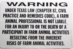 """Warning Sign Liability Texas / Wht & Blk / 12""""H x18""""W"""