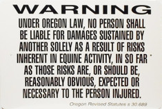 "Warning Sign Equine Liability Oregon / 12""x18"" / Wht & Blk"