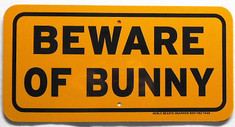 "Beware of Bunny / 6""H x 12""W / Yellow & Black"