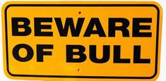 """Beware of Bull / 6""""x12"""" / Yellow & Black"""