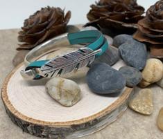 Feather Bracelet Aqua Leather