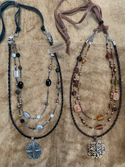 Spiral Braided Horse Hair Necklace with Glass & Stone Beads & Metal Pendant