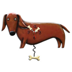 Red Dachshund Wall Clock