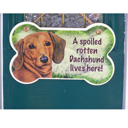 A spoiled rotten dachshund lives here sign