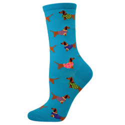 Blue socks with dachshunds in sweaters