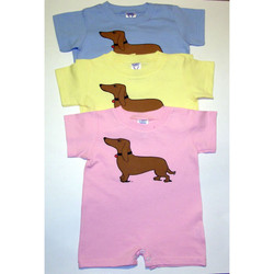 These dachshund onesies are available in 3 colors